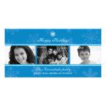 Tarjeta azul de la foto del copo de nieve del tríp tarjeta fotografica personalizada