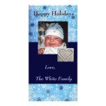 Tarjeta azul de la foto del día de fiesta del copo tarjetas personales