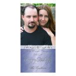 Tarjeta azul de la foto del día de fiesta feliz de tarjetas fotograficas personalizadas