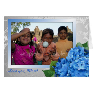 Tarjeta azul de la foto del día de madre del