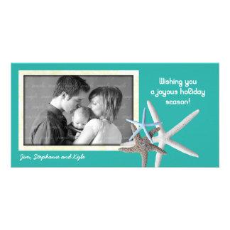 Tarjeta azul de la foto del navidad de la familia tarjetas personales