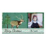 Tarjeta azul de la foto del navidad de los ciervos tarjeta personal con foto