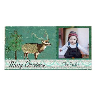 Tarjeta azul de la foto del navidad de los ciervos tarjetas personales con fotos