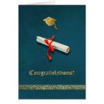 Tarjeta azul de la graduación