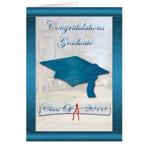 Tarjeta azul de la graduación del satén