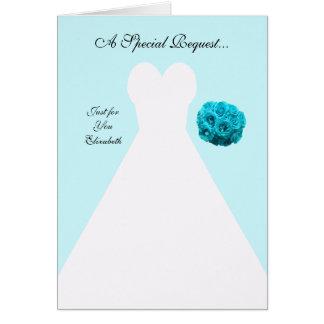 Tarjeta azul de la invitación de la dama de honor