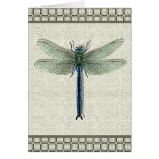 Tarjeta azul de la libélula del trullo