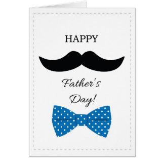 Tarjeta azul de la pajarita de padres del bigote f