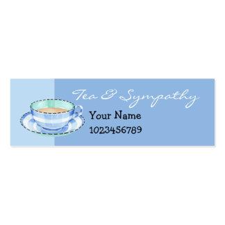 Tarjeta azul de la pequeña empresa de la taza de t tarjeta de visita