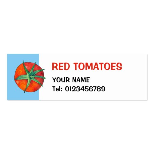 Tarjeta azul de la pequeña empresa de los tomates  tarjetas de negocios