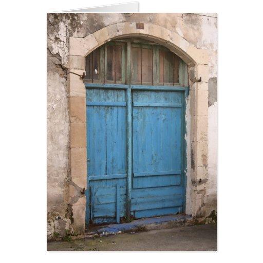 Tarjeta azul de la puerta de granero