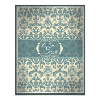 """Tarjeta azul de la recepción del damasco del invitación 4.25"""" x 5.5"""""""