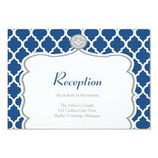 """Tarjeta azul de la recepción nupcial de Quatrefoil Invitación 3.5"""" X 5"""""""
