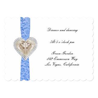 """Tarjeta azul de la recepción nupcial del cordón invitación 5"""" x 7"""""""