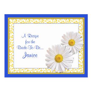 Tarjeta azul de la receta de la margarita de postales