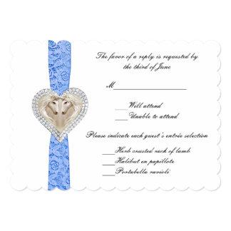 """Tarjeta azul de la respuesta del boda del cordón invitación 5"""" x 7"""""""