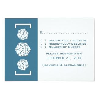 """Tarjeta azul de la respuesta del boda del invitación 3.5"""" x 5"""""""