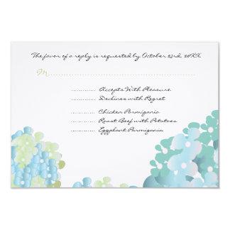 """Tarjeta azul de la respuesta del Hydrangea Invitación 3.5"""" X 5"""""""