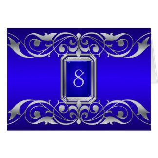 Tarjeta azul de la tabla de la plata de la grande