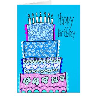 Tarjeta azul de la torta del feliz cumpleaños