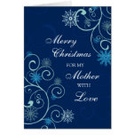 Tarjeta azul de las Felices Navidad de la madre de