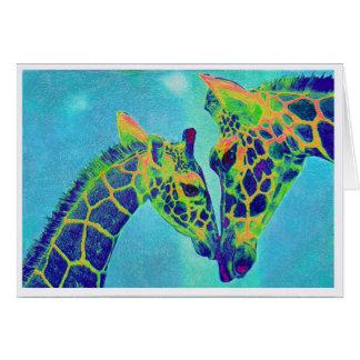 tarjeta azul de las jirafas