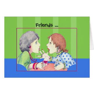 Tarjeta azul de los amigos del zumbido