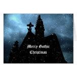 Tarjeta azul de los Felices Navidad góticos para s
