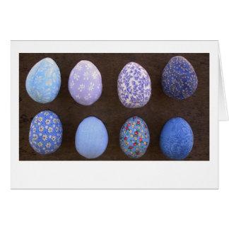 Tarjeta azul de los huevos