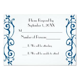 "Tarjeta (azul) de marfil de RSVP de la fibrilla Invitación 3.5"" X 5"""