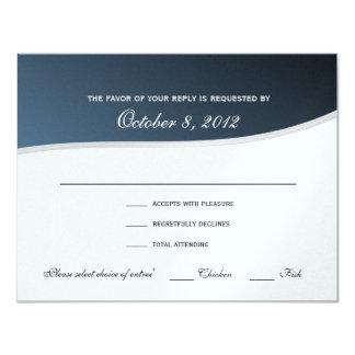 """Tarjeta azul de plata de la respuesta de la música invitación 4.25"""" x 5.5"""""""