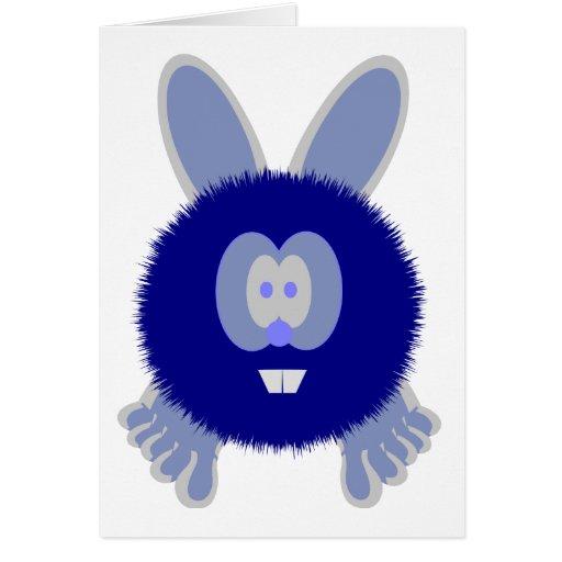 Tarjeta azul de Pom Pom PAL del conejito