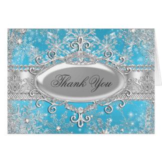 Tarjeta azul de princesa Winter Wonderland Thank Y