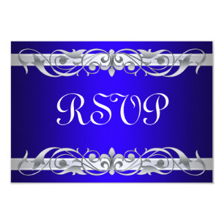 "Tarjeta azul de RSVP de la grande duquesa voluta Invitación 3.5"" X 5"""