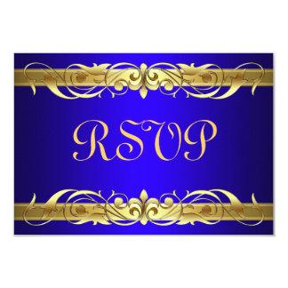 """Tarjeta azul de RSVP de la voluta de la grande Invitación 3.5"""" X 5"""""""