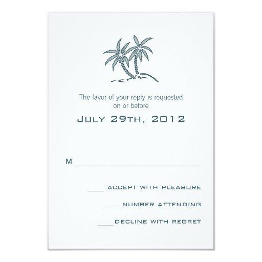 """Tarjeta azul de RSVP de las palmeras gemelas Invitación 3.5"""" X 5"""""""