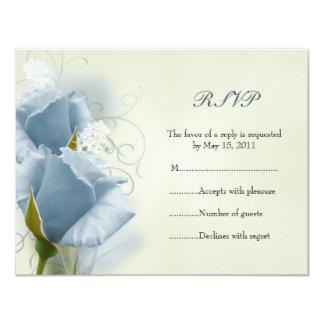 Tarjeta azul de RSVP de los rosas Invitación 10,8 X 13,9 Cm