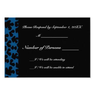 """Tarjeta (azul) de RSVP del ébano de las Novas Invitación 3.5"""" X 5"""""""