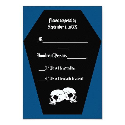 Tarjeta (azul) de RSVP del ébano del ataúd Invitaciones Personales