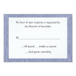 """Tarjeta azul de uso múltiple de la respuesta del invitación 3.5"""" x 5"""""""