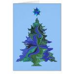 Tarjeta azul del árbol de navidad y de la estrella