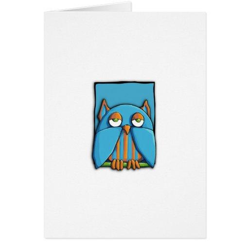 Tarjeta azul del azul del búho