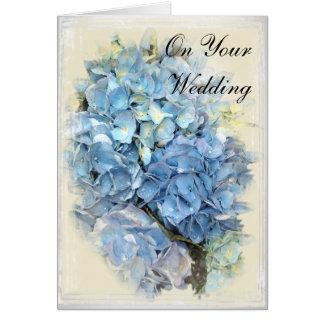 Tarjeta azul del día de boda de la flor del Hydran
