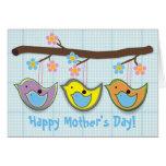 Tarjeta azul del día de madre de los chirridos emb