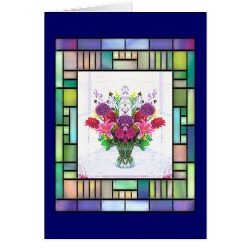 Tarjeta azul del día de madre del florero