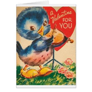 Tarjeta azul del el día de San Valentín del violín