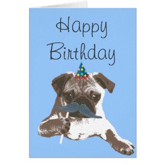 Tarjeta azul del feliz cumpleaños del barro amasad