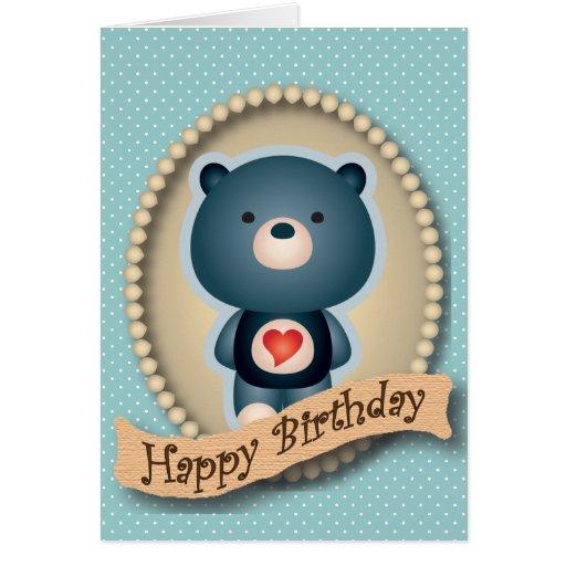 Tarjeta azul del feliz cumpleaños del oso lindo