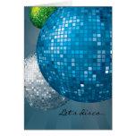 Tarjeta azul del fiesta del Año Nuevo de las bolas