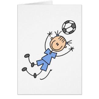 Tarjeta azul del fútbol de los chicas